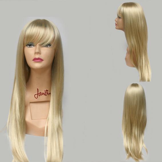 per cke blond lang 70cm wie echthaar halloween pony extensions neu hr a0450 613 ebay. Black Bedroom Furniture Sets. Home Design Ideas