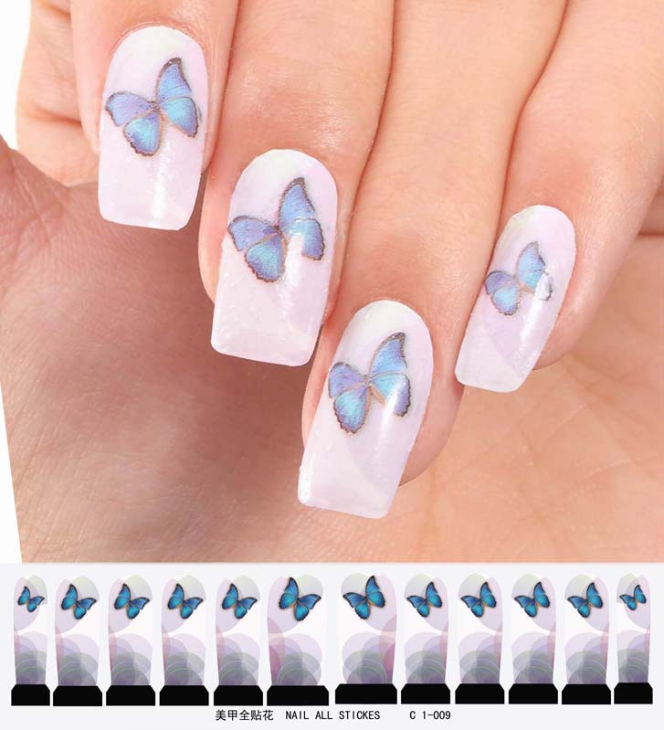 Nail art sticker set design tattoo nagellack schmetterling - Nagellack designs ...