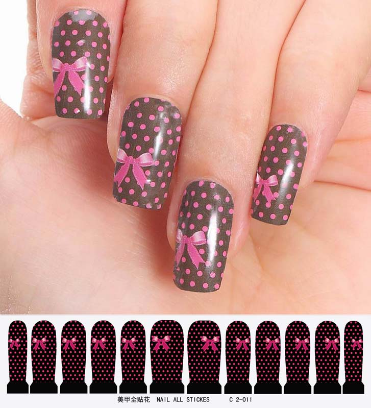 nail art sticker set design tattoo nagellack schwarz rosa gepunktet nagel folie ebay. Black Bedroom Furniture Sets. Home Design Ideas