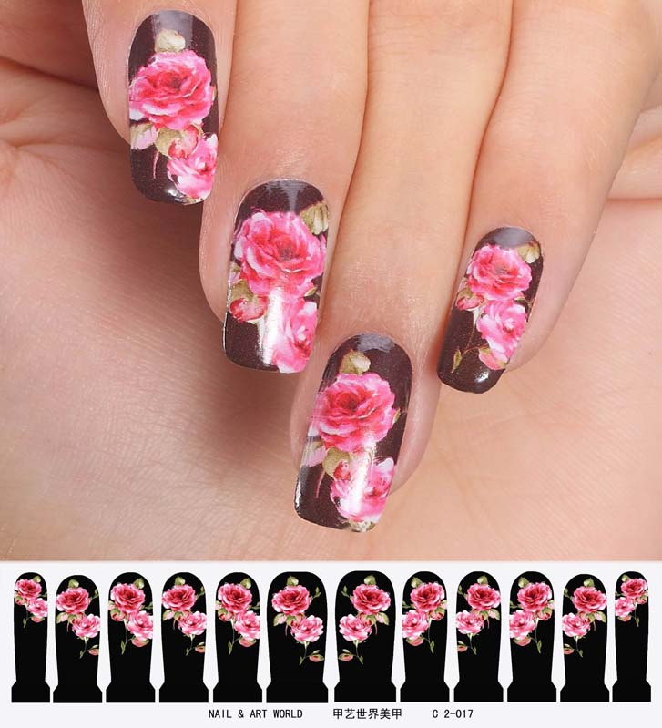 nail art sticker set design tattoo nagellack folie rosen schwarz rosa nailart ebay. Black Bedroom Furniture Sets. Home Design Ideas