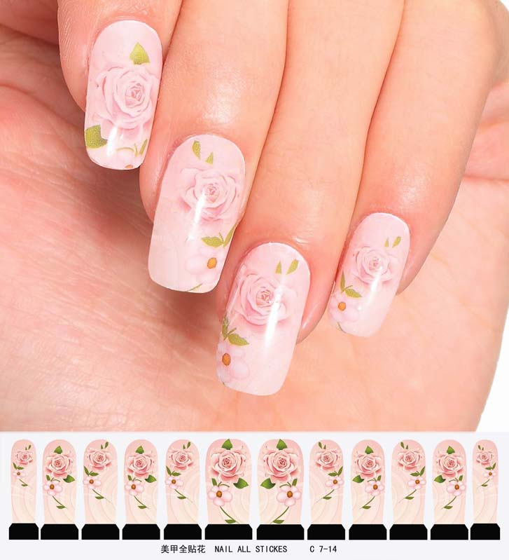 nail art sticker set design tattoo nagellack rosa rose folie sticker nailart ebay. Black Bedroom Furniture Sets. Home Design Ideas