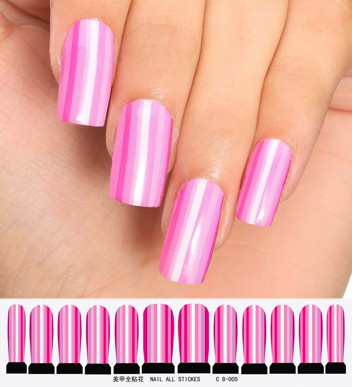 Nail Art Sticker Set Design Tattoo Nagellack Rosa Folie Pink Lila Streifen Nagel | EBay